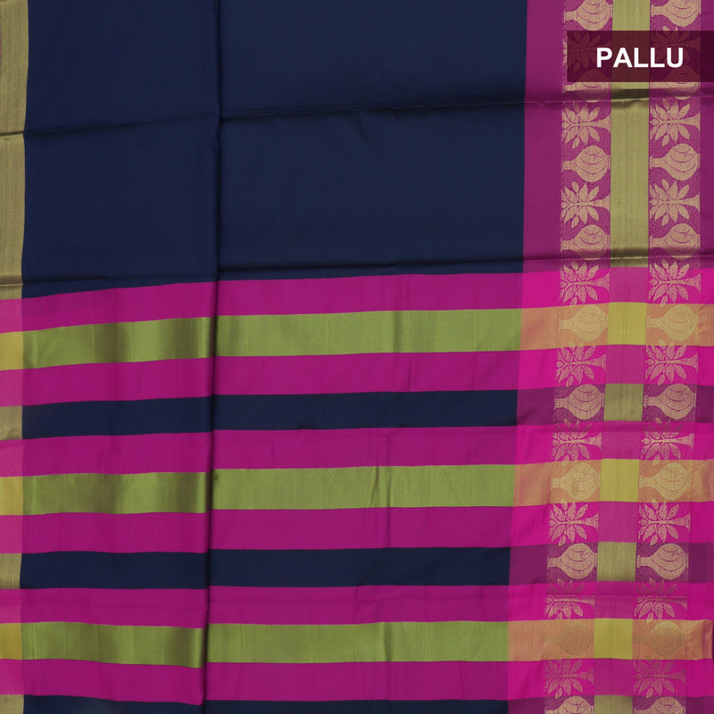 Art Silk Saree Dark Blue and Pink with Tree Zari Border and Brocade Blouse