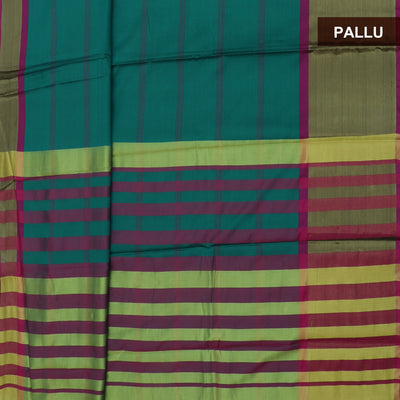 Art Silk Saree Dark Green and Pink with Simple Zari Border and Brocade Blouse