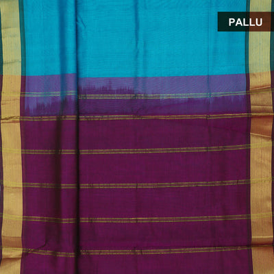 Silk Cotton Saree : Sky blue and Purple with bavanji zari border