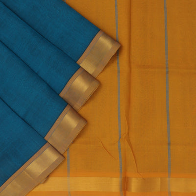 Silk Cotton Saree : Blue and Mustard with simple zari border