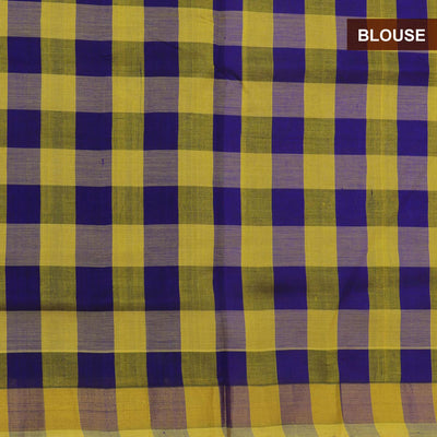 Silk Cotton Saree : Ink blue and yellow with checks and simple border partly