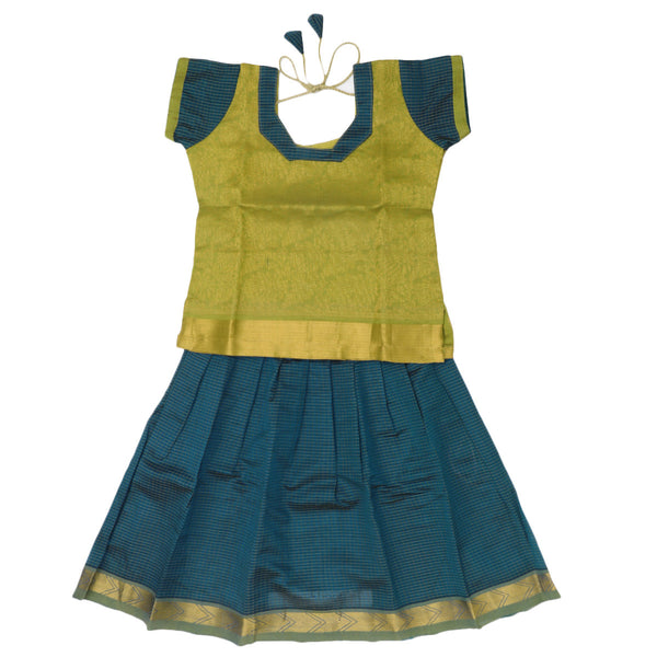 Silk Cotton Paavadai Sattai - Green and Blue with zari border (2 years)