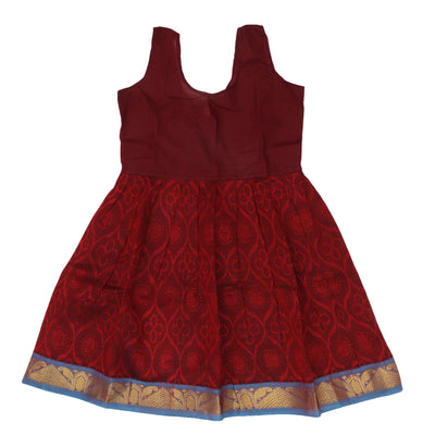 Silk Cotton Paavadai Sattai - Blue and Maroon with mango zari border (1 year)