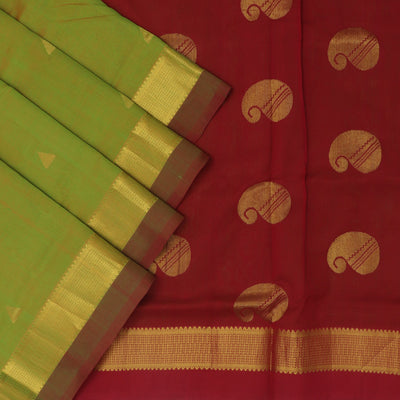 Silk Cotton Saree Green and Maroon with temple zari border 9 yards