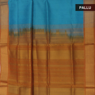 Silk Cotton Saree Blue and Mustard with bavanji zari border