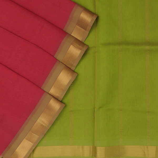 Silk Cotton Saree Light Red and Green with simple zari border
