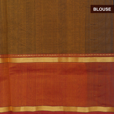 Silk Cotton Saree Peacock blue and Rust green with Zari border