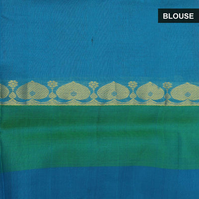 Silk Cotton Saree - Dark Pink and Blue with long silk border