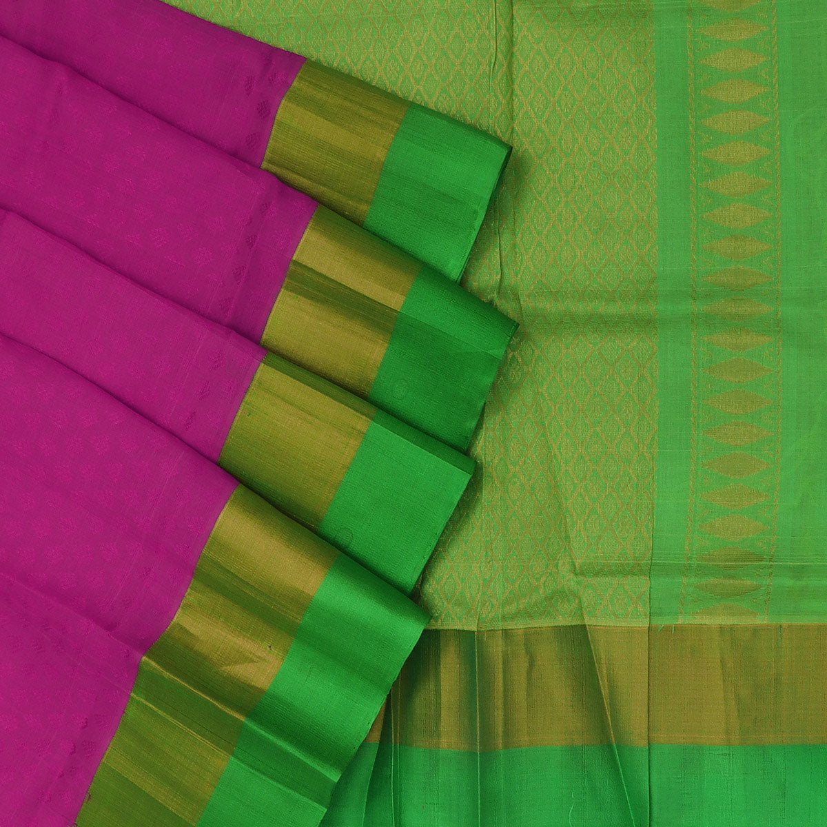 Kuppadam Silk Cotton Saree - Light Pink and green with silk border