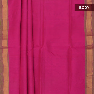 Silk Cotton Saree - Pink and Pale green with simple zari border