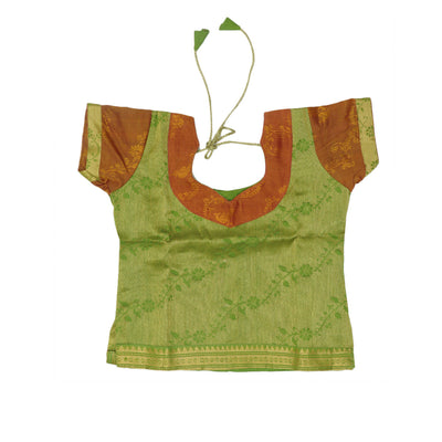 Silk Cotton Paavadai Sattai - Green and brown with floral zari border (1 year )