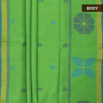Silk Cotton Saree - Green and Blue with floral design border