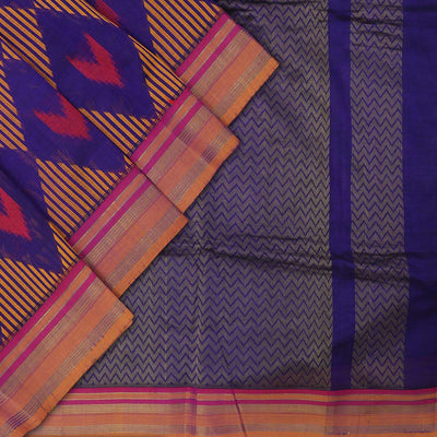 Silk Cotton Saree - Dark blue and Mustard with diamond design