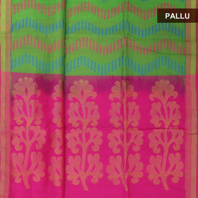 Silk Cotton Saree - Green and Pink with simple border