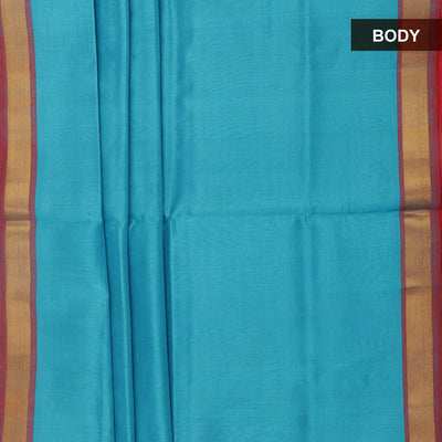 Silk Cotton Saree - Sky blue and Red with simple zari border
