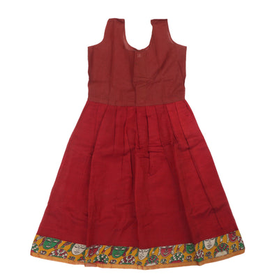 Silk Cotton Paavadai Sattai - Yellow Kalamkari blouse and Red (4 years )