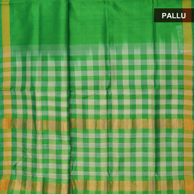Silk Cotton Saree - Green and Beige with checks Pallu and simple border partly