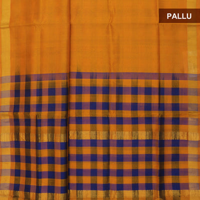 Silk Cotton Saree - Mustard and Blue with checks Pallu and simple border partly