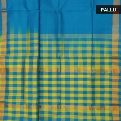 Silk Cotton Saree - Sky blue and Light yellow with checks Pallu and simple border partly