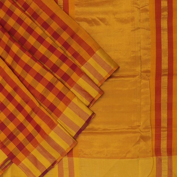 Silk Cotton Saree - Mustard and Maroon with jumping checks and Simple zari border for Rs.Rs. 3950.00 | by Prashanti Sarees