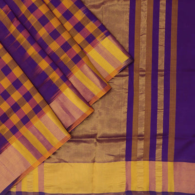 Silk Cotton Saree - Dark Blue and Mustard with jumping checks and Simple zari border