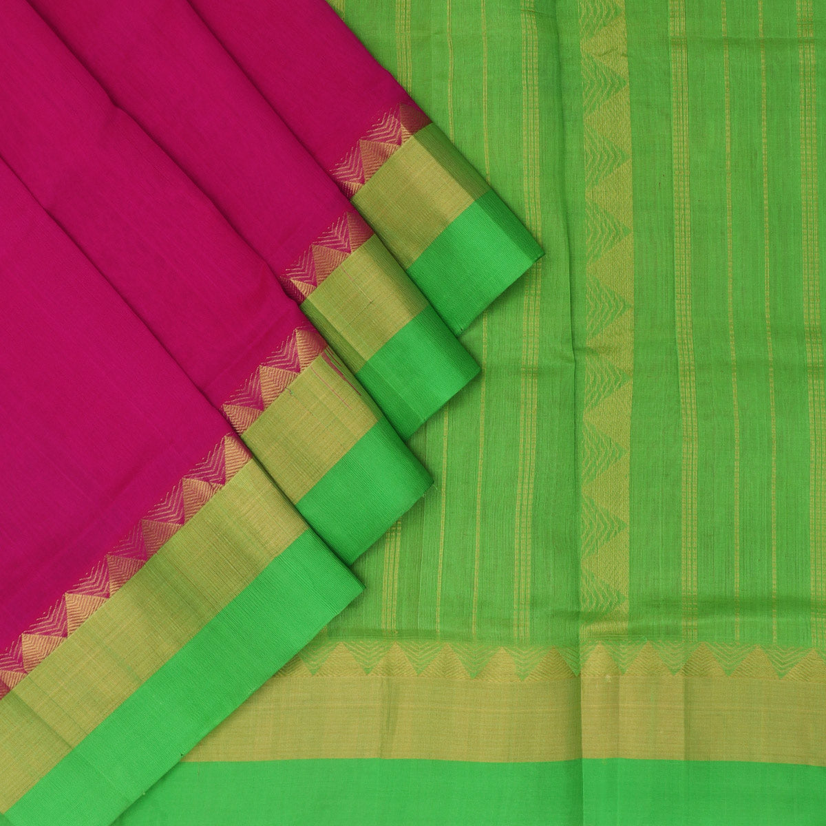 Kuppadam Silk Cotton Saree - Pink and Green with temple Zari silk border