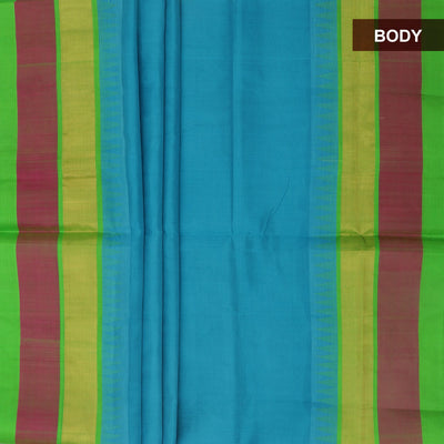 Silk Cotton Saree - Sky blue and Green with temple silk border