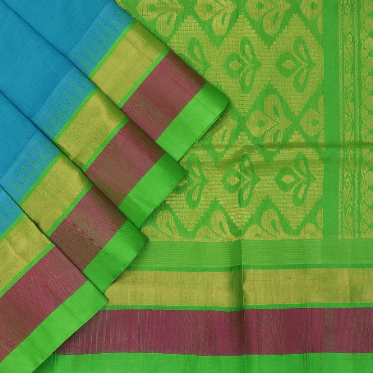 Kuppadam Silk Cotton Saree - Sky blue and Green with temple silk border