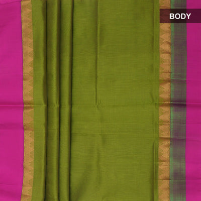 Kuppadam Silk Cotton Saree - Green and Pink with temple zari silk border