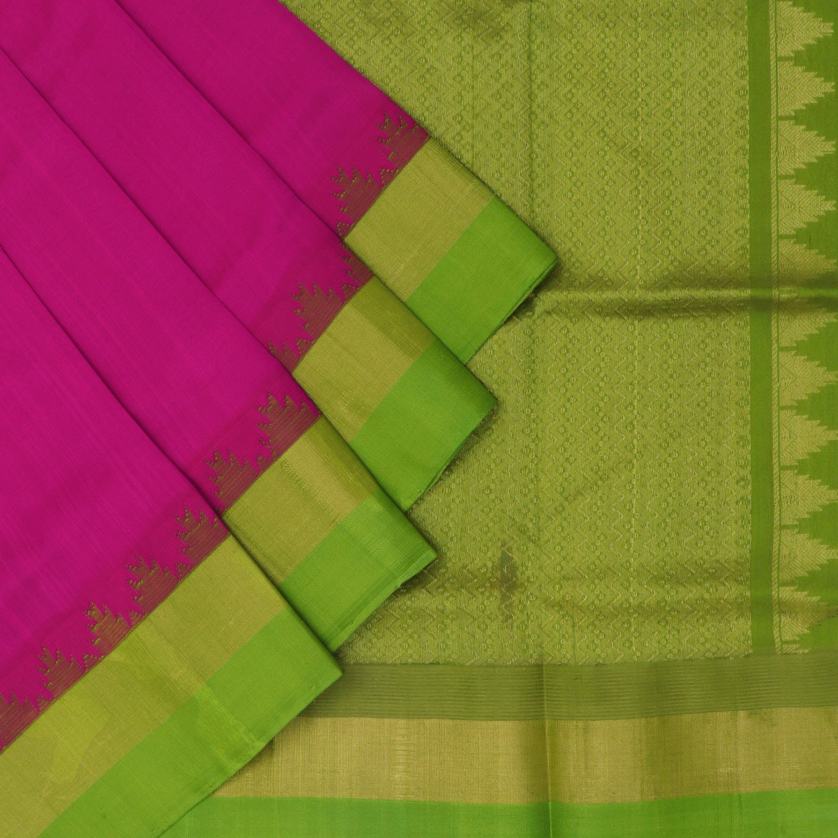 Silk Cotton Saree - Dark Pink and Green with temple silk border for Rs.Rs. 5830.00 | by Prashanti Sarees