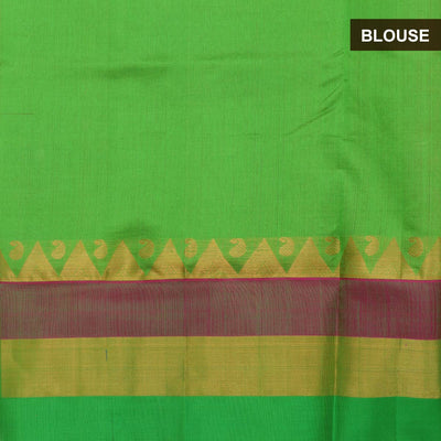 Silk Cotton Saree - Pink and Green with temple silk border