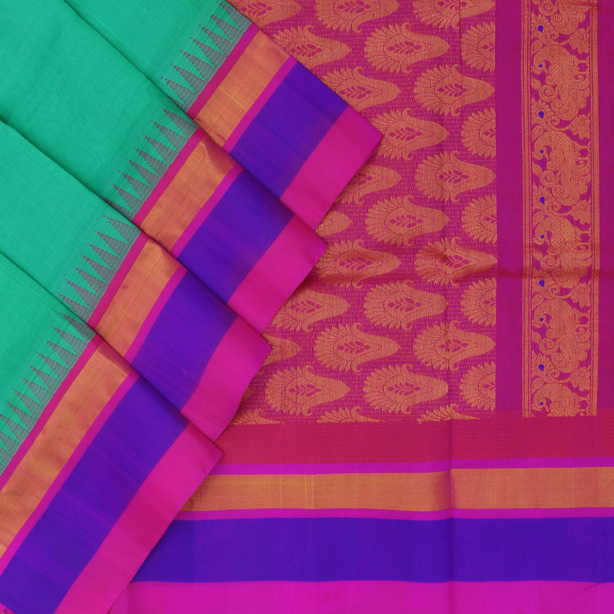 Kuppadam Silk Cotton Saree - Sea green and Pink with temple silk border