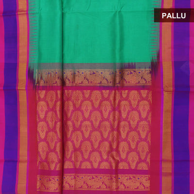 Silk Cotton Saree - Sea green and Pink with temple silk border