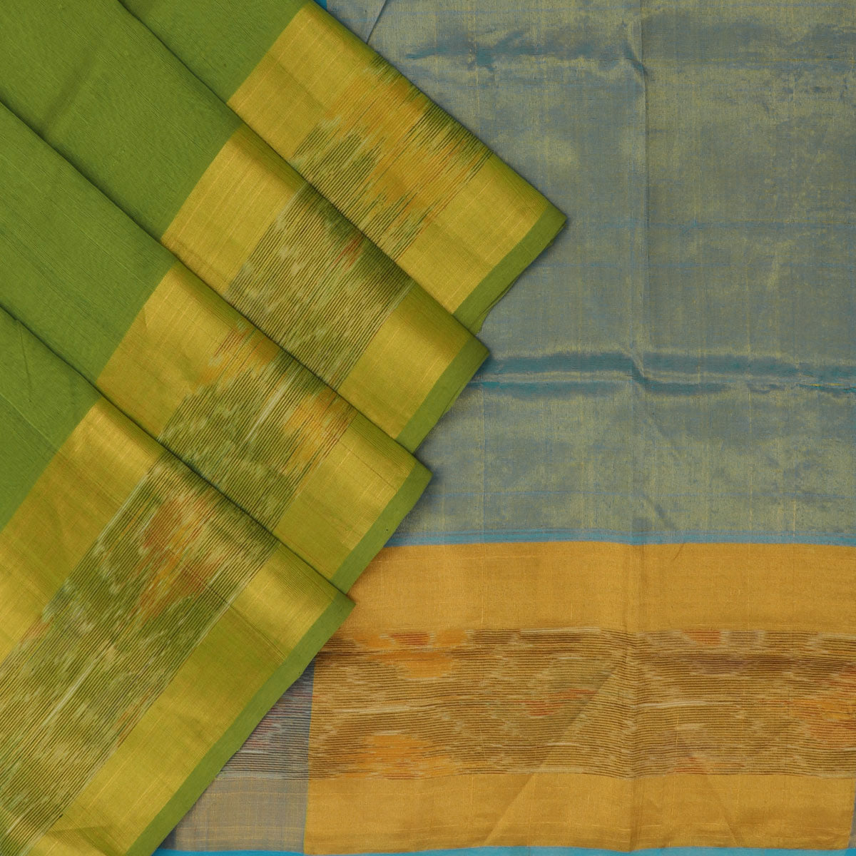 Silk Cotton Saree - Sky blue and Green with long Ikkat border