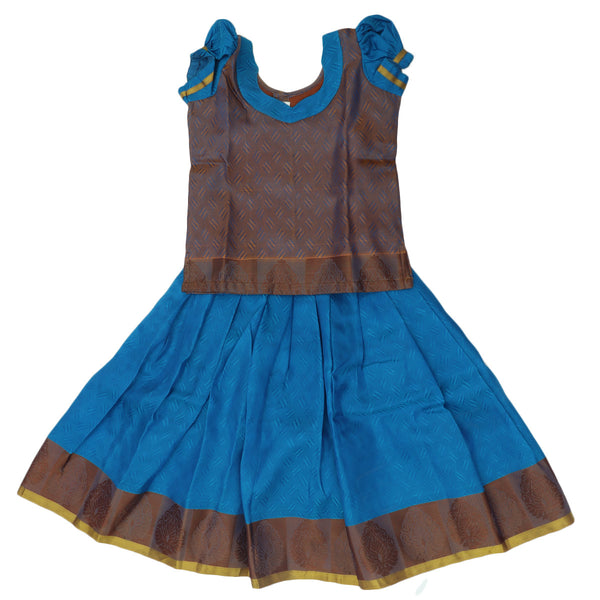 Paavadai Sattai - Light brown and blue with floral border (5 years )