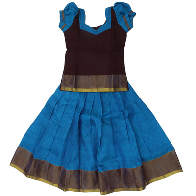Paavadai Sattai - Dark Maroon and blue with floral border ( 4 years )