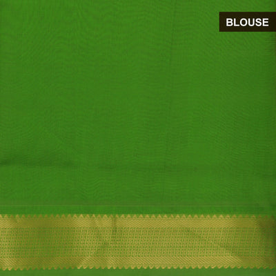 Silk Cotton Saree - Maroon and Green with bavanji zari border partly