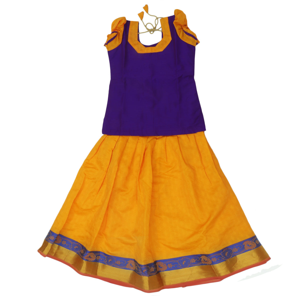 Paavadai Sattai - Violet and yellow with floral thread border (5 years )