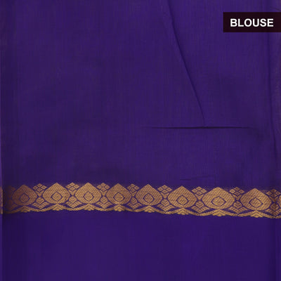 Kuppadam Silk Cotton Saree - Sandal and Blue with Floral zari Silk Border