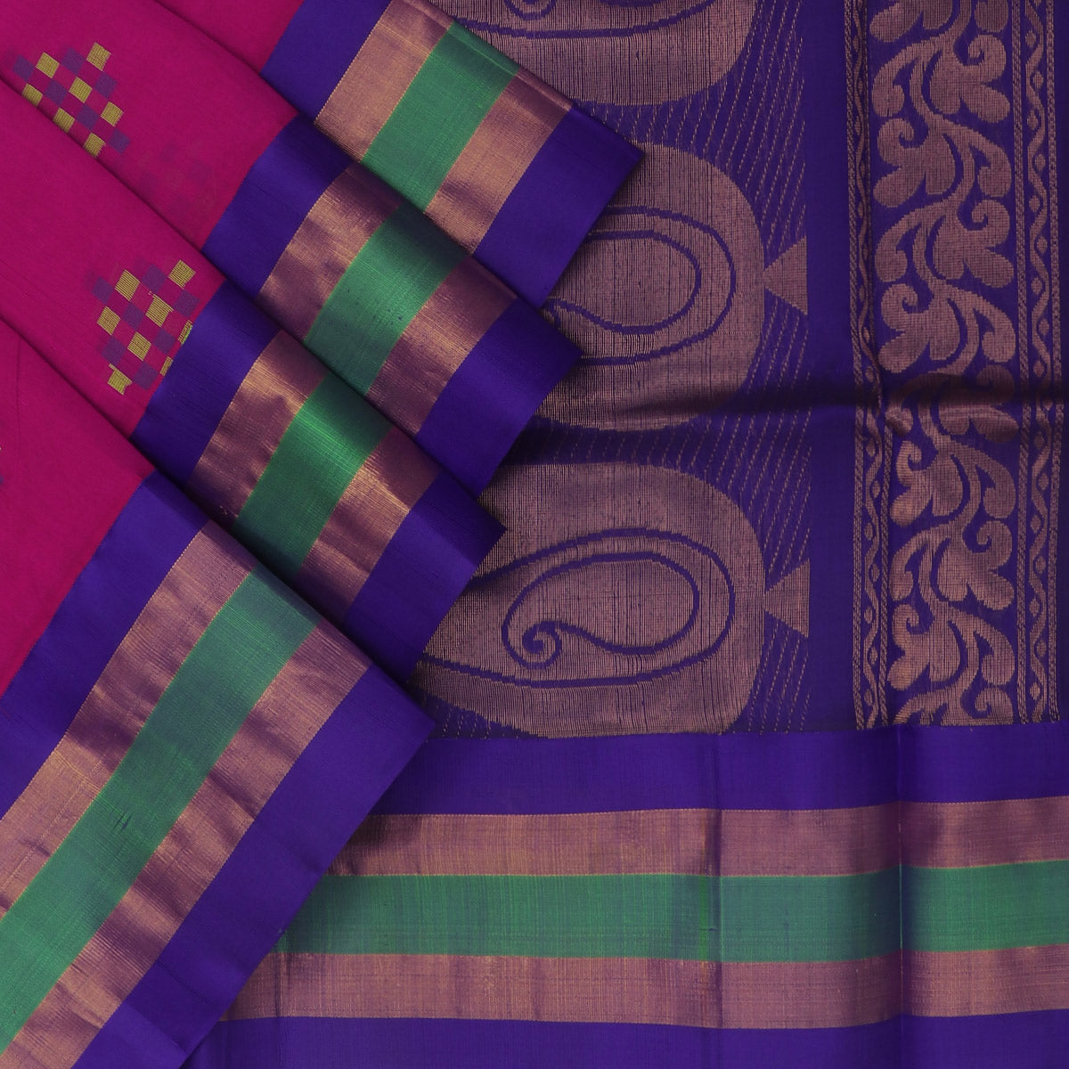 Kuppadam Silk Cotton Saree - Pink and Blue with Silk Border