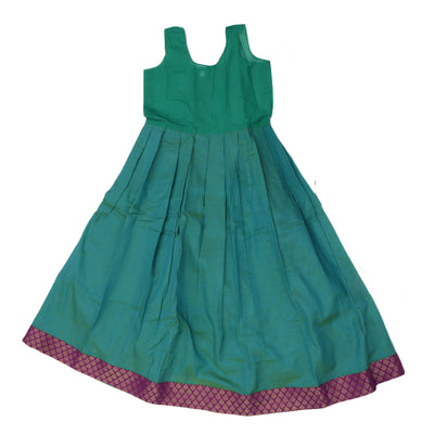Paavadai Sattai - Purple Brocade blouse and Sea Green with leaf border (8 years )