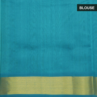 Silk Cotton Saree - Green and Sky Blue with Bavanji zari border