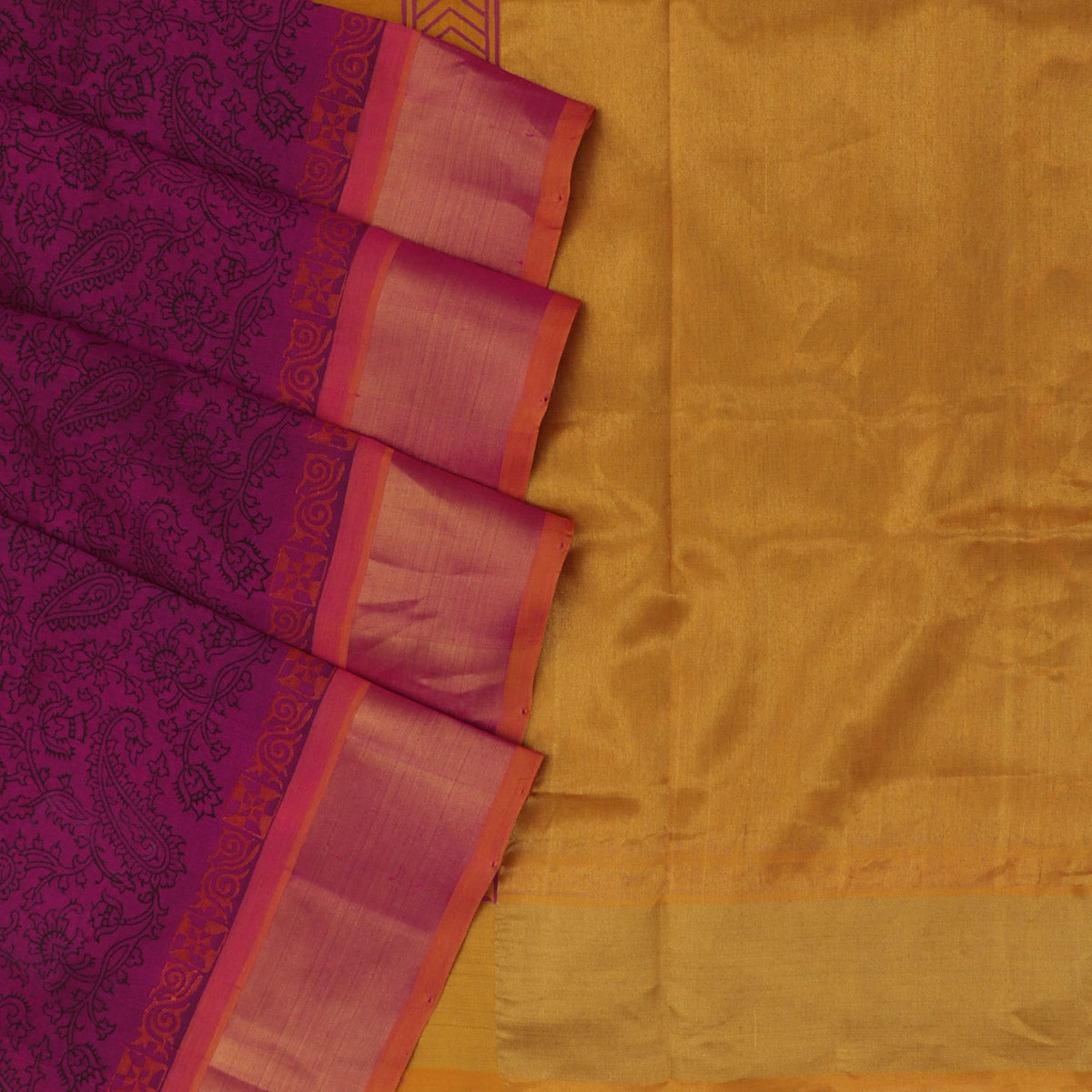 Printed Silk Cotton Saree : Dark Pink and Mustard with Simple zari border