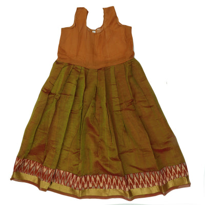 Ikkat Paavadai Sattai - Brown and Green with Simple border (7 years )