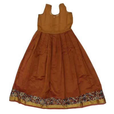 Kalamkari Paavadai Sattai - Maroon and Mustard with Simple zari border (9 years )