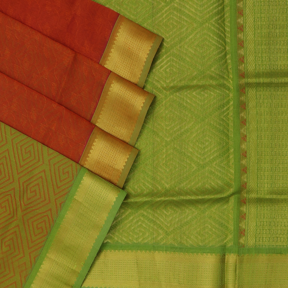 Silk Cotton Saree - Orange and Green with Bavanji zari border partly
