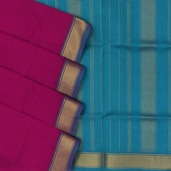 silk cotton saree - Pink and Sky Blue with simple zari border