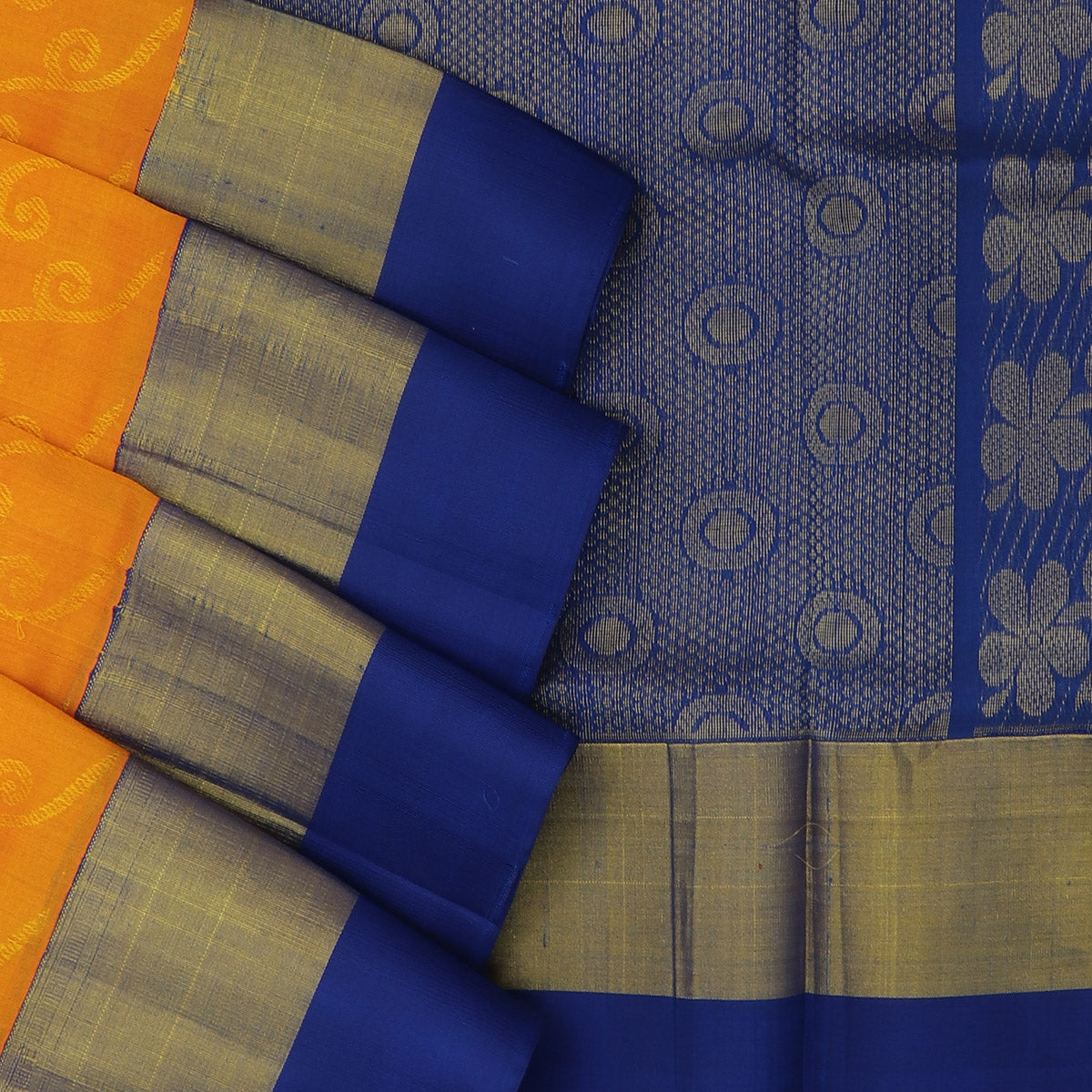 silk cotton saree - Yellow and Blue with Silk border jacquard for Rs.Rs. 6990.00 | by Prashanti Sarees