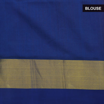 silk cotton saree - Yellow and Blue with Silk border jacquard