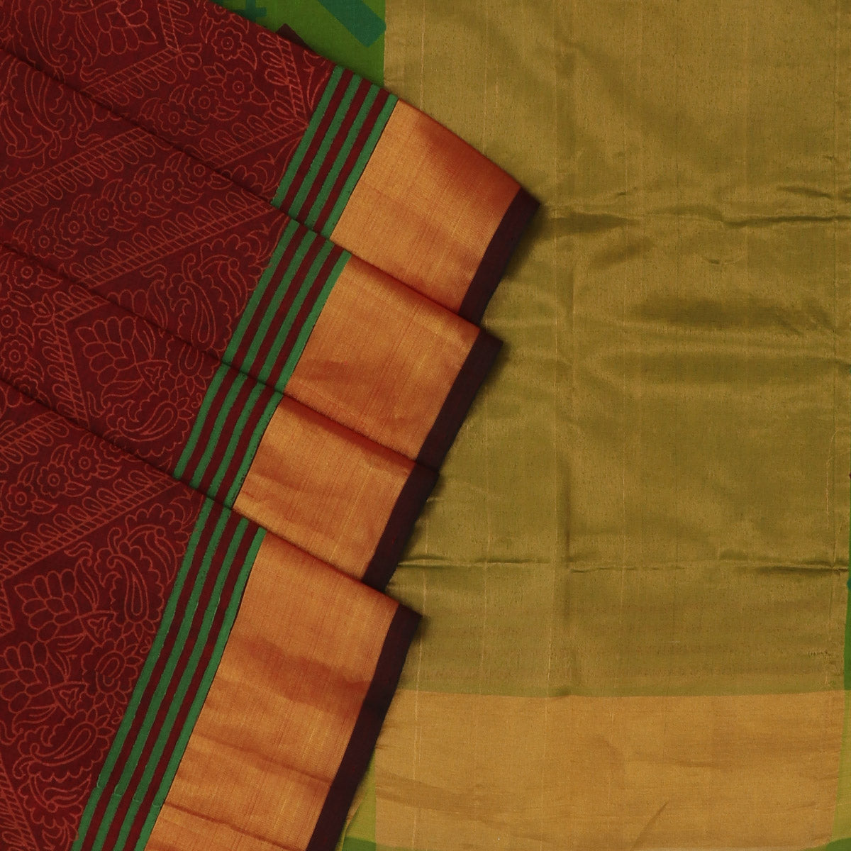 Printed Silk Cotton Saree - Maroon and Green with Bavanji zari border